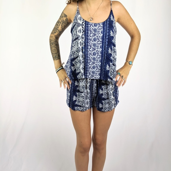 one clothing Dresses & Skirts - One Clothing Blue Paisley Romper